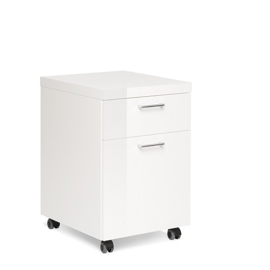Fortis Office Cabinet In White High Gloss With Rollers_4
