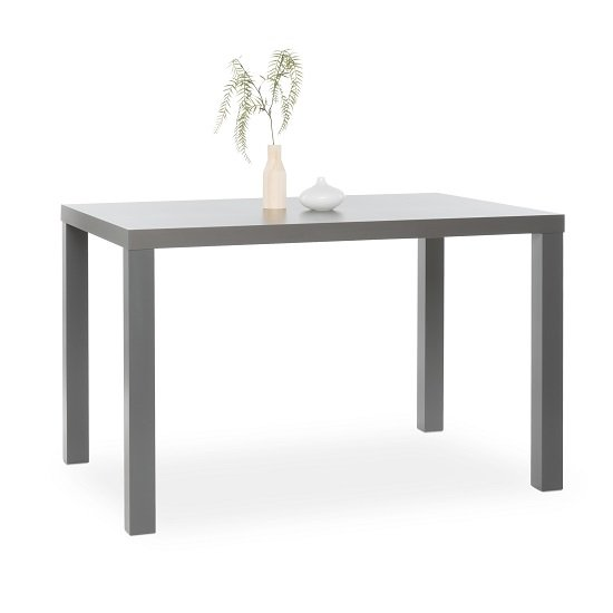 Fortis Small Dining Table Rectangular In Dark Grey High Gloss