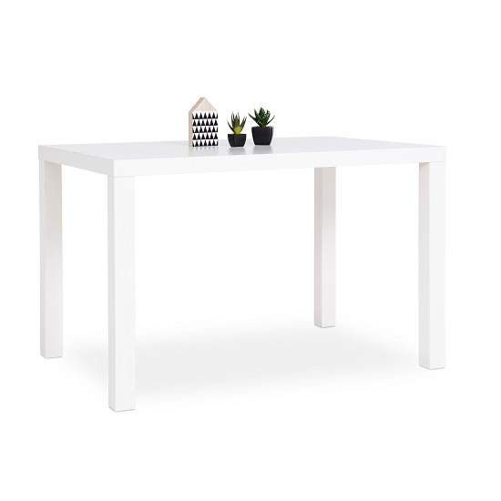 Fortis Small Dining Table Rectangular In White High Gloss