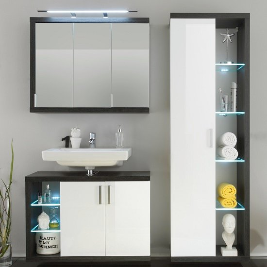 Forum Bathroom Set 2 In Smoke Silver Gloss White Fronts And LED_2