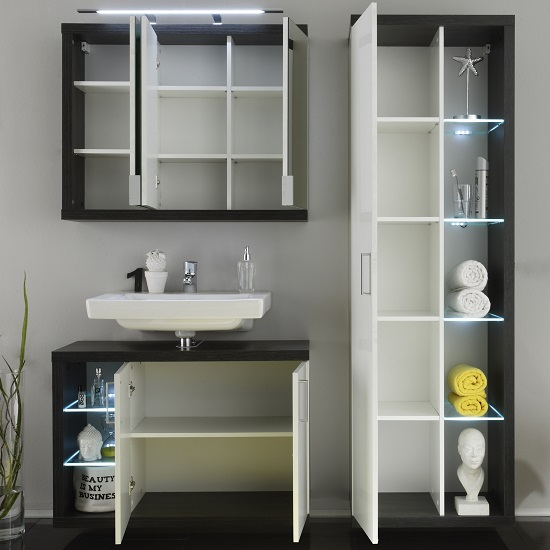 Forum Bathroom Set 2 In Smoke Silver Gloss White Fronts And LED_3