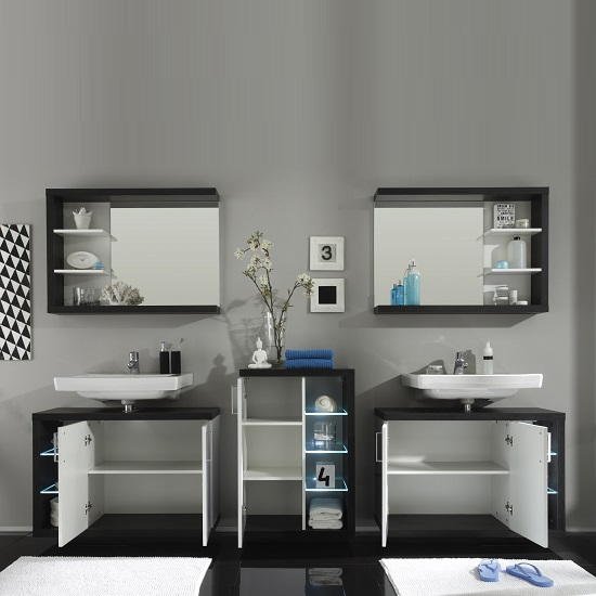 Forum Bathroom Set 4 In Smoke Silver Gloss White Fronts And LED_2