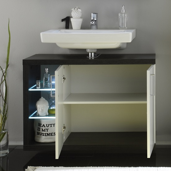Forum Vanity Unit In Smoky Silver High Gloss Fronts With LED_3