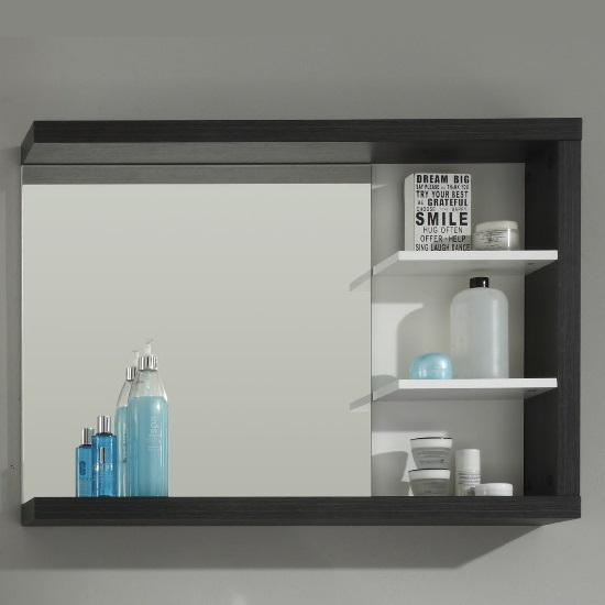 Read more about Forum wall mirror with shelf in smoky silver high gloss fronts