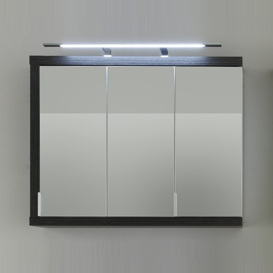 Read more about Forum wall mirror cabinet in smoky silver high gloss fronts led