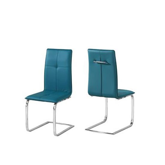 Foster Dining Chair In Teal Faux Leather In A Pair