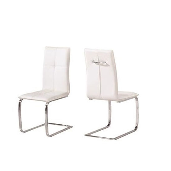 Foster Dining Chair In White Faux Leather In A Pair