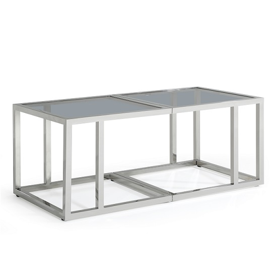 Foster Glass Coffee Table With Polished Stainless Steel Frame