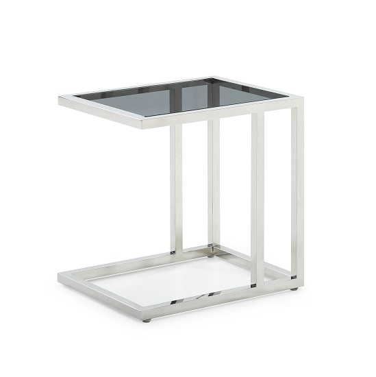 Foster Glass End Table With Polished Stainless Steel Frame