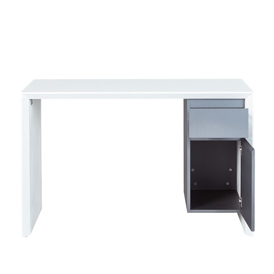 Foxley Computer Desk In White High Gloss And Grey_3