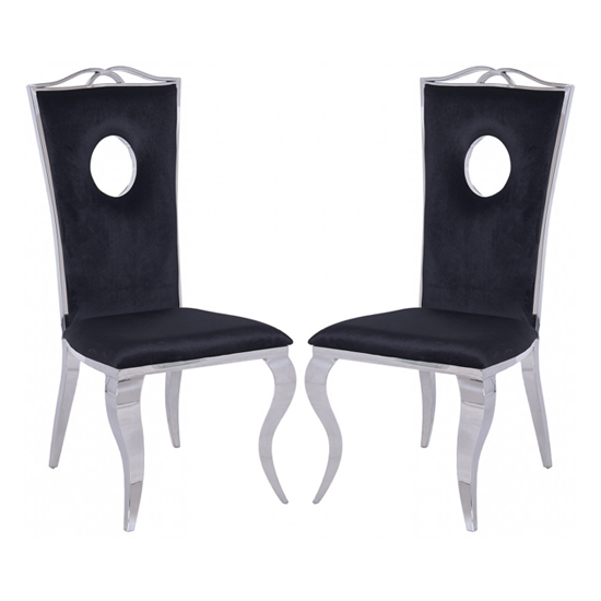 Frabinetto Black Velvet Dining Chair In Pair