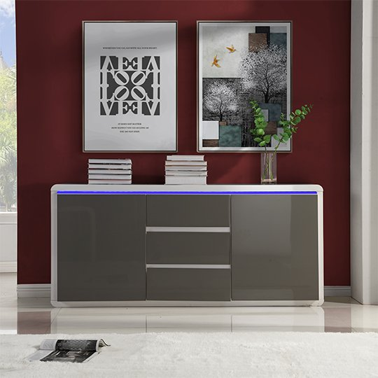 Frame Large Wooden Sideboard In White And Grey High Gloss_2