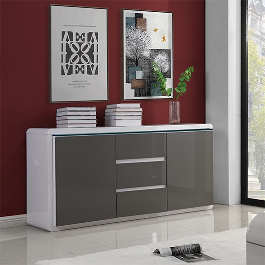 Frame Large Wooden Sideboard In White And Grey High Gloss_3