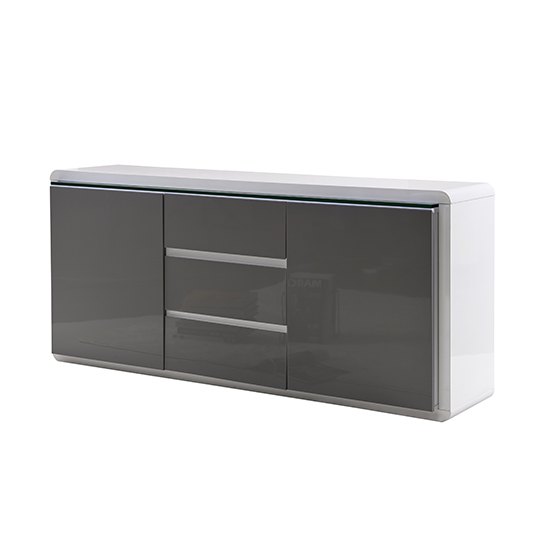 Frame Large Wooden Sideboard In White And Grey High Gloss_5