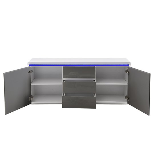 Frame Large Wooden Sideboard In White And Grey High Gloss_7