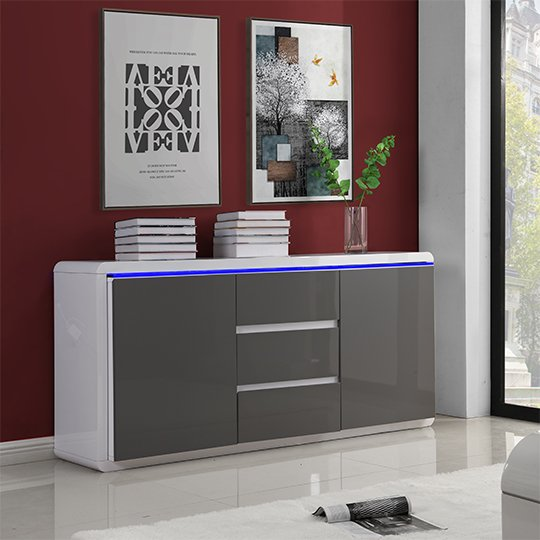 Frame Large Wooden Sideboard In White And Grey High Gloss_1