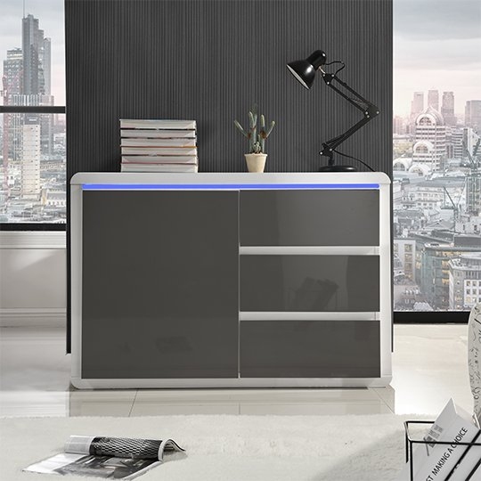 Frame Small Wooden Sideboard In White And Grey High Gloss_2