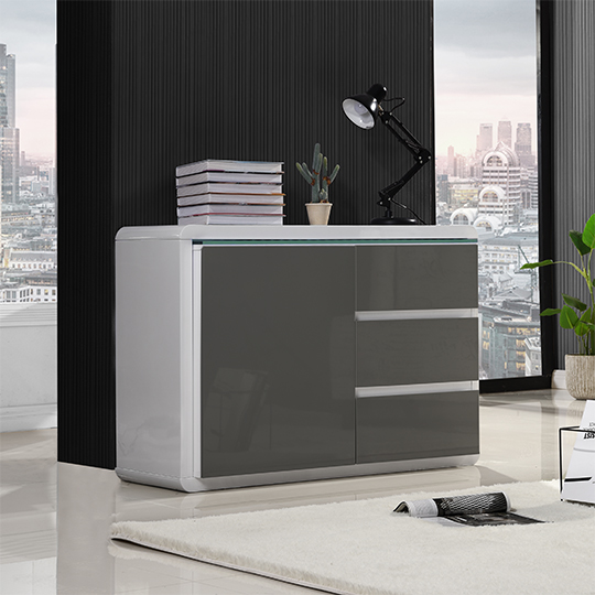 Frame Small Wooden Sideboard In White And Grey High Gloss_3