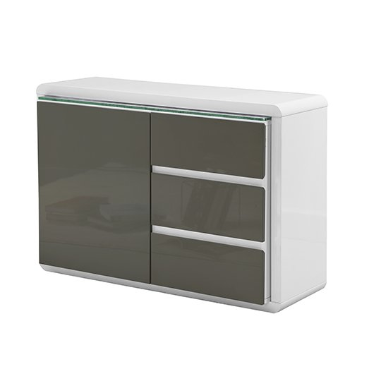 Frame Small Wooden Sideboard In White And Grey High Gloss_5