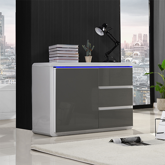Frame Small Wooden Sideboard In White And Grey High Gloss