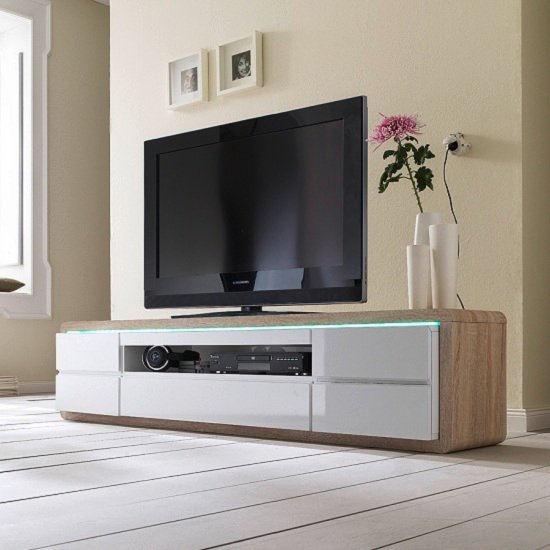 Frame TV Stand In Oak And White Gloss And LED