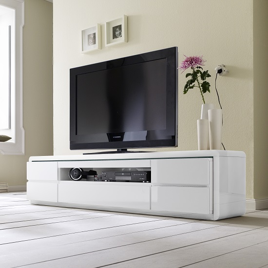 Frame LCD TV Stand In White High Gloss With 5 Drawers and LED_5