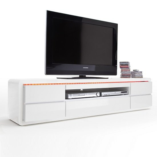Frame LCD TV Stand In White High Gloss With 5 Drawers and LED_4