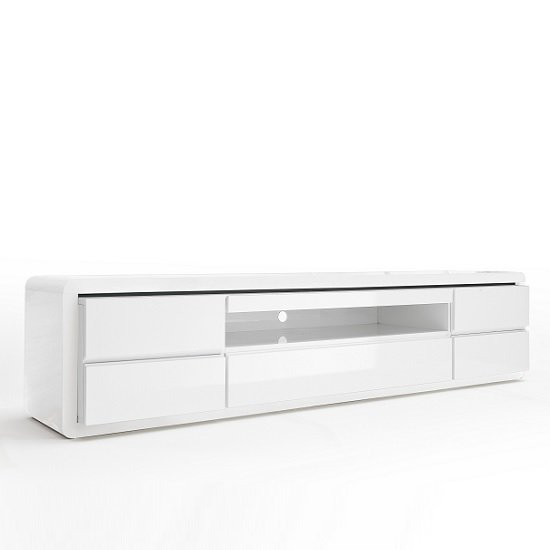 Frame LCD TV Stand In White High Gloss With 5 Drawers and LED_3