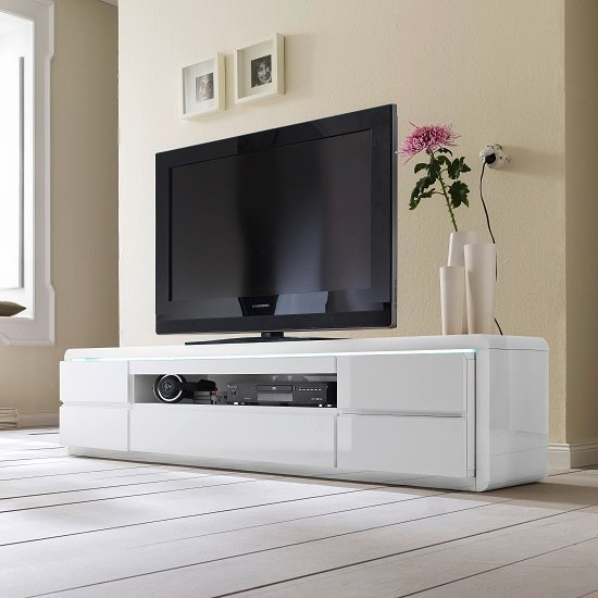 Photo of Frame lcd tv stand in white high gloss with 5 drawers and led