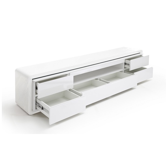 Frame LCD TV Stand In White High Gloss With 5 Drawers and LED_2