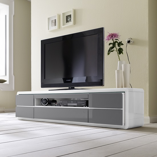 Frame LCD TV Stand In White Grey Gloss With LED And 5 Drawers_5