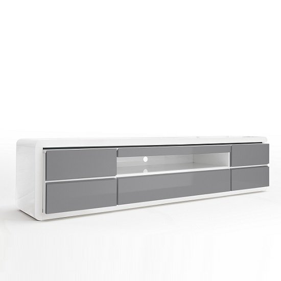 Frame LCD TV Stand In White Grey Gloss With LED And 5 Drawers_3