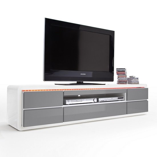 Frame LCD TV Stand In White Grey Gloss With LED And 5 Drawers_4