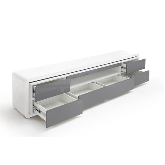 Frame LCD TV Stand In White Grey Gloss With LED And 5 Drawers_2
