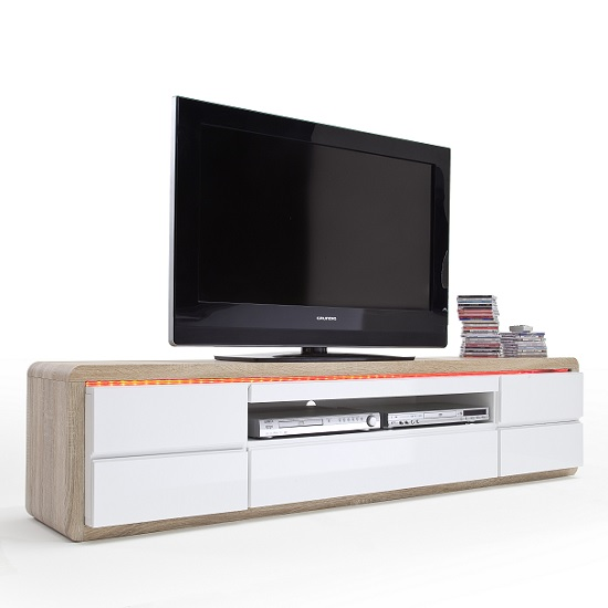 online store 94d36 20053 Frame TV Stand In Oak And White Gloss And LED