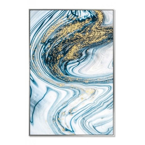 Acrylic Framed Pictures Aqua Marble Effect (Set Of Three)_3