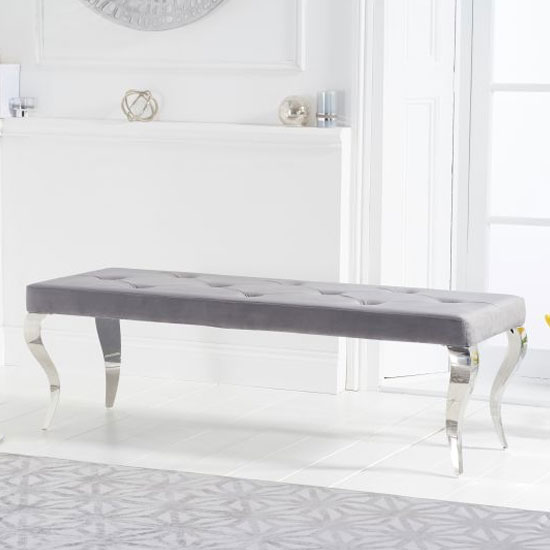 Franca Velvet Large Bench In Grey With Metal Legs_2