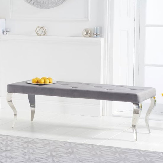 Franca Velvet Large Bench In Grey With Metal Legs_1