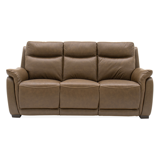 Francesco Leather Fixed 3 Seater Sofa In Tan Brown