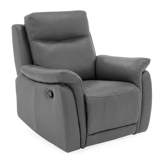Francesco Leather Recliner 1 Seater Sofa In Grey