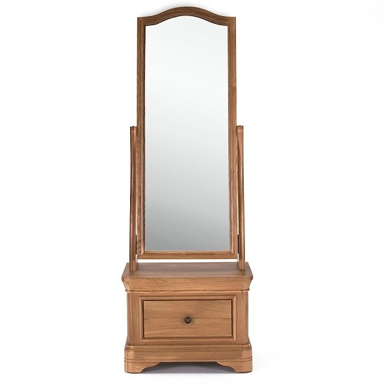 Frank Cheval Mirror In Natural Oak Frame With Drawer