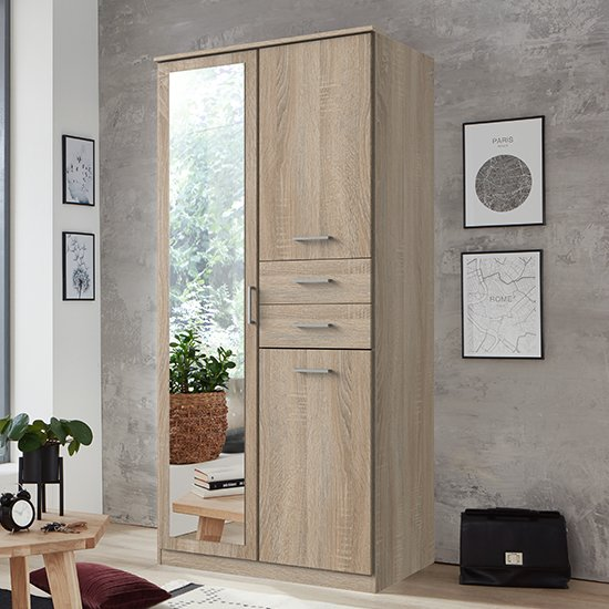 Frankfurt Mirrored Wooden Wardrobe In Oak Effect