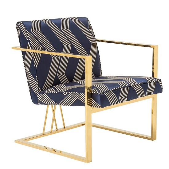 Franklin Accent Chair In Blue With Gold Plated Stainless Steel