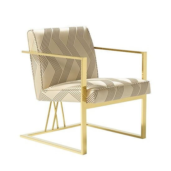 Franklin Accent Chair In Cream With Gold Plated Stainless Steel