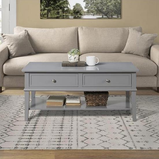 Franklin Wooden Coffee Table In Grey