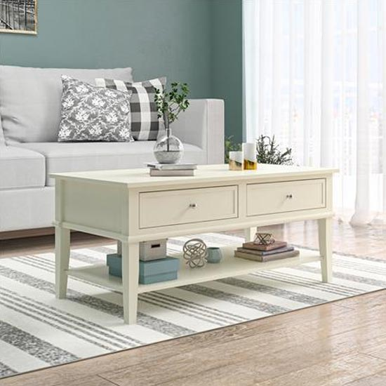 Franklin Wooden Coffee Table In White