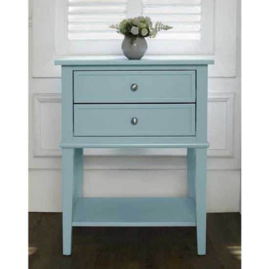 Franklin Wooden Side Table In Blue With 2 Drawers