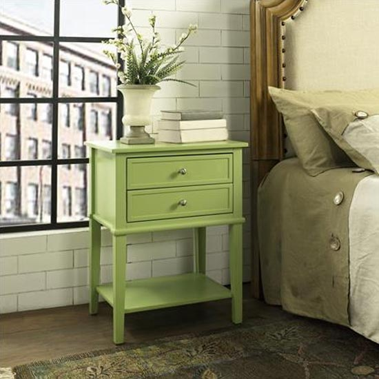 Franklin Wooden Side Table In Green With 2 Drawers_2