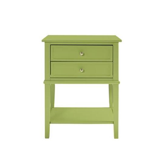 Franklin Wooden Side Table In Green With 2 Drawers_3