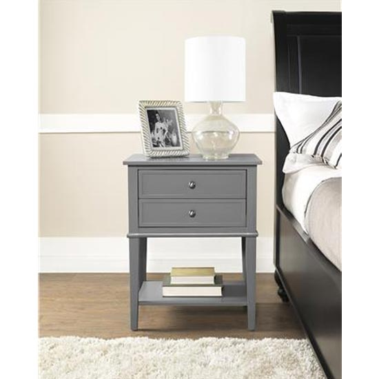 Franklin Wooden Side Table In Grey With 2 Drawers_2